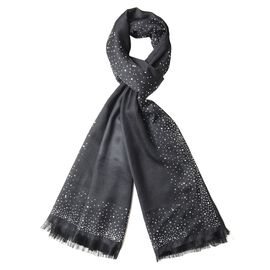 Black Colour Scarf with Crystal Embellishment (Size 175x65 Cm)