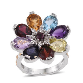11.77 Ct Rose De France Amethyst and Multi Gemstones Floral Ring in Sterling Silver 7 Grams