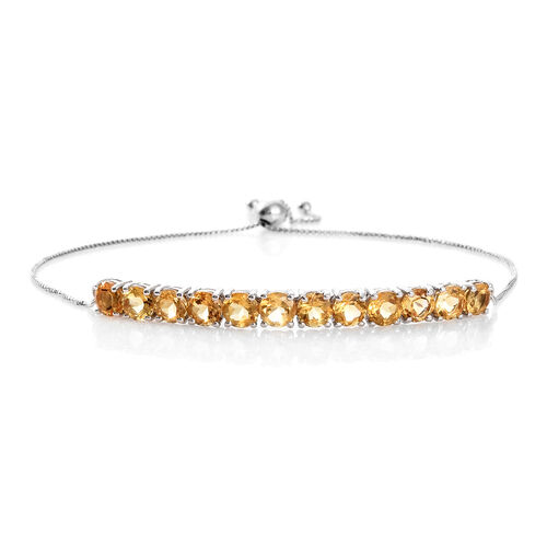 Citrine (Rnd) Adjustable Bracelet (Size 6.5 to 10) in Platinum Overlay Sterling Silver 5.500 Ct