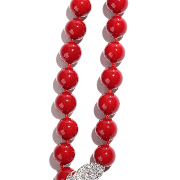 Designer Inspired- Red Shell Pearl, Simulated Diamond Adjustable Beaded Necklace (Size 24)