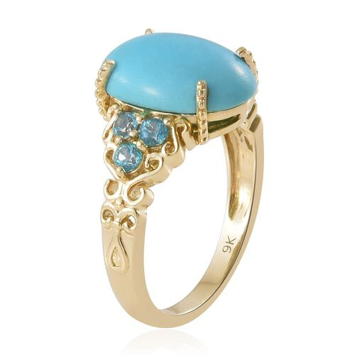 9K Yellow Gold AA Arizona Sleeping Beauty Turquoise (Ovl), Signity Pariaba Topaz Ring 5.000 Ct.