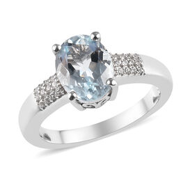 1.70 Ct Espirito Santo Aquamarine and Zircon Soitaire Ring in Platinum Plated Sterling Silver