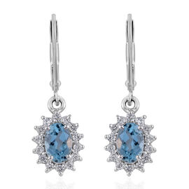 1.53 Ct AAA Santa Maria Aquamarine and Zircon Halo Drop Earrings in 9K White Gold