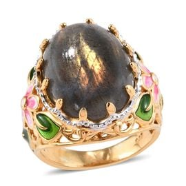 13 Ct Natural Bokonaky Fire Labradorite Floral Ring in Gold Plated Sterling Silver 5.88 Grams