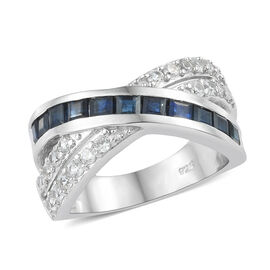 Kanchanaburi Blue Sapphire (Sqr), Natural Cambodian Zircon Criss Cross Ring in Platinum Overlay Sterling Silver 2.000 Ct.