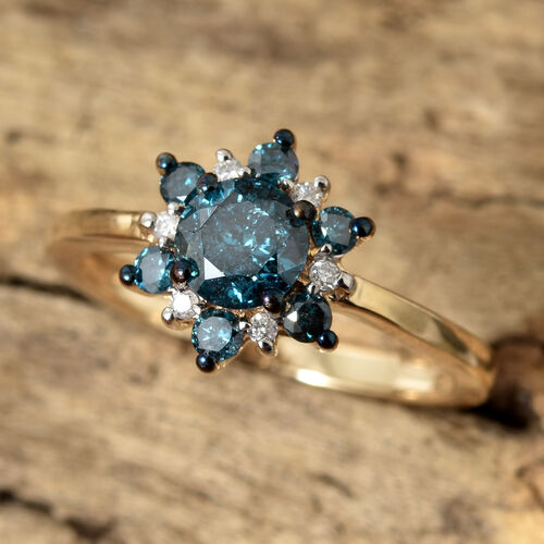 9K Yellow Gold Blue and White Diamond (Rnd) Flower Ring 0.750 Ct.