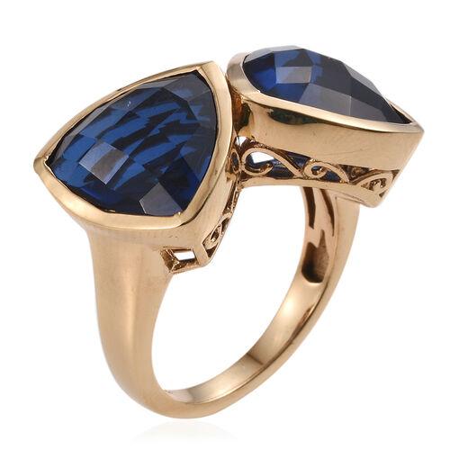 Checkerboard Cut Ceylon Colour Quartz (Trl) Ring in 14K Gold Overlay Sterling Silver 11.750 Ct.