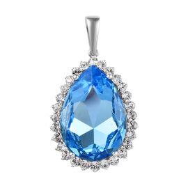 J Francis - Crystal from Swarovski Aquamarine Colour Crystal (Pear), White Crystal Pendant in Platin