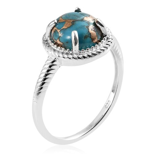 Mojave Blue Turquoise (Rnd) Solitaire Ring in Sterling Silver 3.750 Ct.