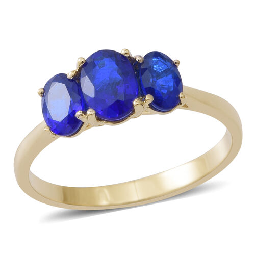Limited Edition- AAA Very Rare Blue Spinel Trilogy Ring in 9K Yellow Gold 2.00 Carat
