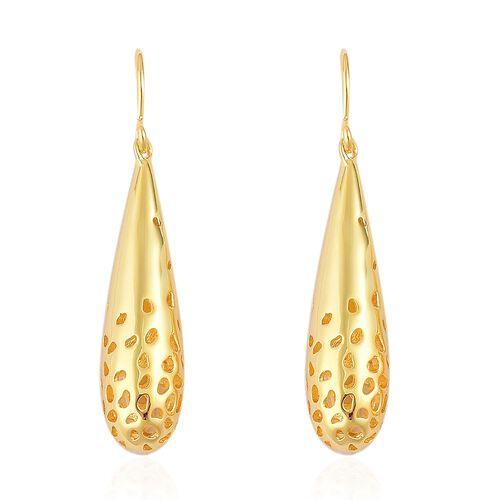RACHEL GALLEY Yellow Gold Overlay Sterling Silver Lattice Drop Hook Earrings
