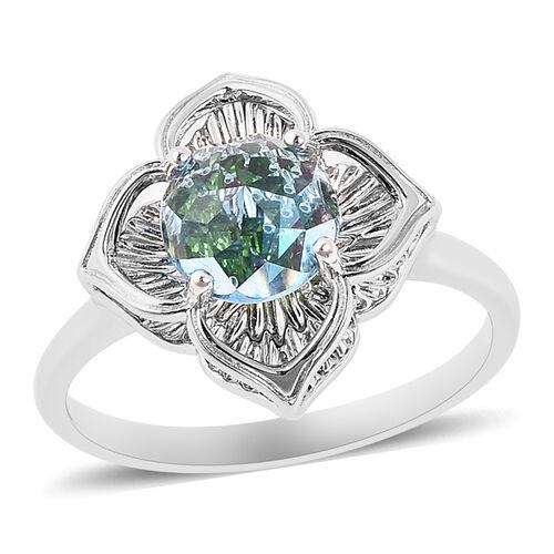 Galatea DavinChi Cut Collection - Blue Topaz, Russian Diopside and Mozambique Garnet Ring in Rhodium