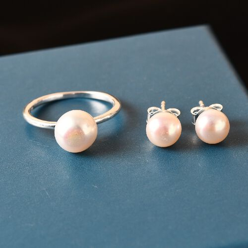 2 Piece Set -  Freshwater Pearl Solitaire Ring and Ball Stud Earrings (with Push Back) in Sterling Silver