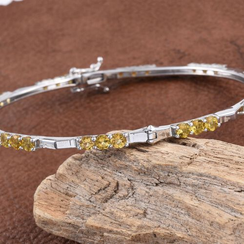 Marialite (Rnd) Bangle (Size 7.5) in Platinum Overlay Sterling Silver 4.250 Ct. Silver wt 10.00 Gms.