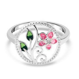 Diamond Jasmine Flower Enamelled Ring in Sterling Silver