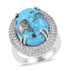Persian Turquoise and Cambodian Zircon Halo Ring in Platinum Plated Sterling Silver,13 Carat