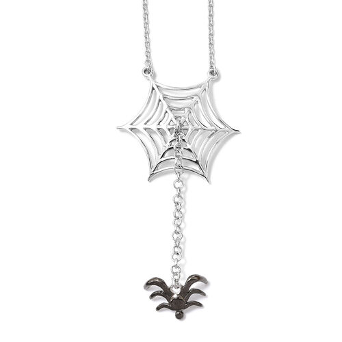 Platinum Overlay and Black Plating Sterling Silver Spider Necklace With Chain (Size 18 and 2 inch Ex