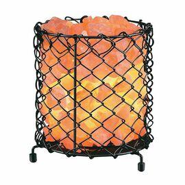 Himalayan Salt Crystal Chunks Lamp with wide Cylinder Metal Net Basket (Size 17x17 Cm) - Pink 4 Kg (