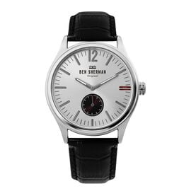 BEN SHERMAN Silver Sunray Round Analog Watch with Black Leather Strap