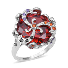 ELANZA Simulated Garnet and Multi Colour Simulated Stones Floral Ring in Sterling Silver 9 Grams