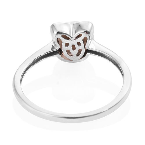 9K White Gold 1.40 Ct AA Brazilian Smoky Quartz Cat Ear Solitaire Ring