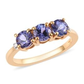Tanzanite (Rnd), Diamond Ring in 14K Gold Overlay Sterling Silver 1.01 Ct.