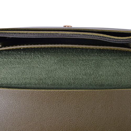 Designer Inspired - Olive Green Colour Ladies Purse with Multiple Card Slots and Metallic Circle at Front (Size 19X10X1 Cm)