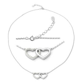 ELANZA Simulated Diamond (Rnd) Adjustable Necklace (Size 17) in Rhodium Overlay Sterling Silver