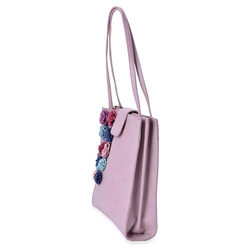 (LIMITED COLLECTION) Multi Colour 3D Floral Pattern Pink Colour Tote Bag with Buckle Flap (Size 30x27x8 Cm)