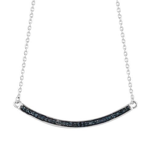 Blue Diamond (Rnd) Necklace with Chain (Size 18) in Platinum and Blue Overlay Sterling Silver 0.200 Ct.