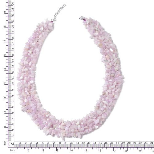 One Time Deal-Kunzite Necklace (Size 18 with 2 inch Extender) in Rhodium Plated Sterling Silver 789.500 Ct.