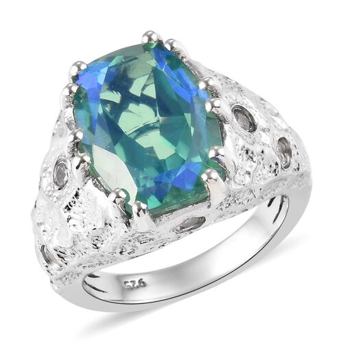 6.90 Ct Peacock Quartz and Zircon Solitaire Ring in Platinum Plated Sterling Silver 7.80 Grams