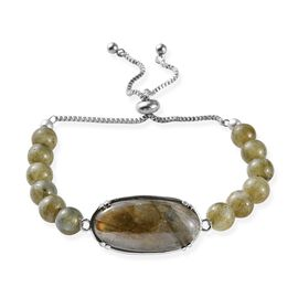 Labradorite (Ovl 30x15 mm) Bead Bracelet (Size 6.5-9.5 Adjustable) in Stainless Steel 20.00 Ct.