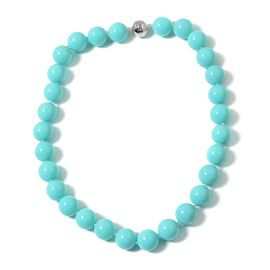 Rare Size Turquoise Colour Shell Pearl (15-17mm) Necklace (Size 20) with Magnetic Clasp in Rhodium Plated Sterling Silver