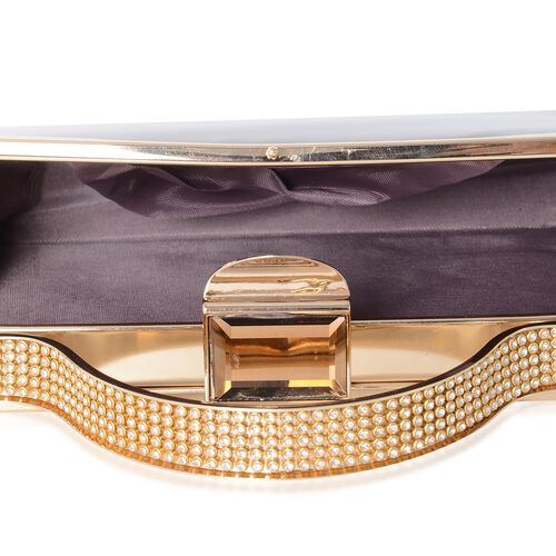 Boutique Collection High Glossed Bronze Clutch with Crystal Embellished and Removable Chain Shoulder Strap (Size 20x11x4 Cm)