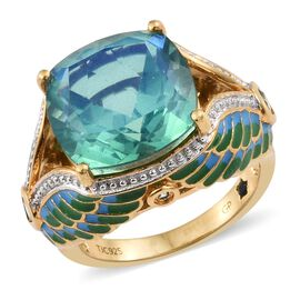GP Peacock Quartz (Cush 9.90 Ct), Green Sapphire and Kanchanaburi Blue Sapphire Green and Blue Colour Enameled Ring in 14K Gold Overlay Sterling Silver 10.500 Ct. Silver wt 6.34 Gms.