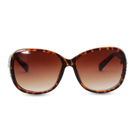 Designer Inspired Cats Eye Sunglasses - Brown with Crystal