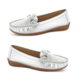 Ella Betty Loafer in Silver Colour