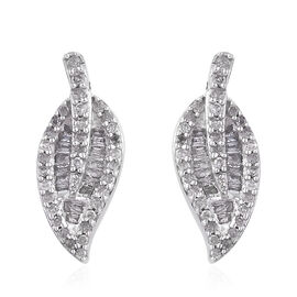GP- Energy of Life Collection- Diamond (Rnd), Kanchanaburi Blue Sapphire Leaf Earrings (with Push Ba
