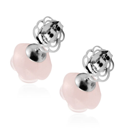 Rose Quartz Earrings (with Push Back) in Stainless Steel 38.00 Ct.