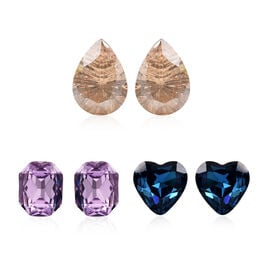 Set of 3 - Simulated Amethyst, Simulated Blue Sapphire and Simulated Champagne Diamond Stud Earrings