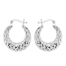 Rhodium Overlay Sterling Silver Creole Earrings (with Clasp)