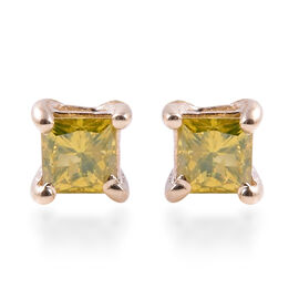 9K Yellow Gold Yellow Diamond (Sqr) Stud Earrings (with Push Back) 0.40 Ct.