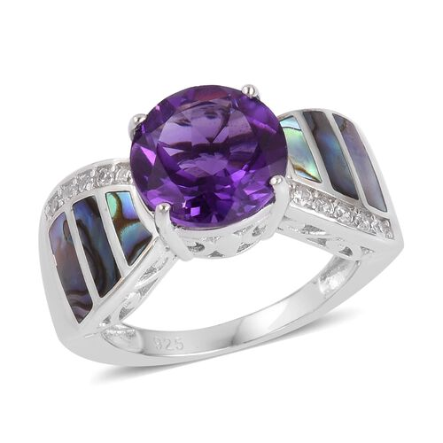 Lusaka Amethyst (Rnd 3.25 Ct), Abalone Shell and Natural White Cambodian Zircon Ring in Rhodium Plated Sterling Silver 3.930 Ct. Silver wt 5.46 Gms.