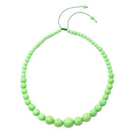 HONG KONG COLLECTION- Green Howlite Graduated Adjustable Necklace (Size 18 -24)  287.000  Ct.