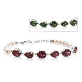 Colour Change Alexandrite Quartz (Ovl and Pear), Freshwater Pearl Bracelet (Size 7.5 with 1 inch Ext