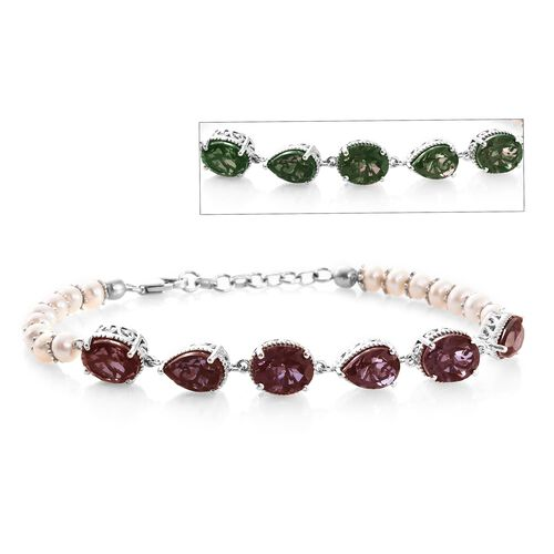 Colour Change Alexandrite Quartz (Ovl and Pear), Freshwater Pearl Bracelet (Size 7.5 with 1 inch Extender) in Platinum Overlay Sterling Silver 27.500 Ct. Silver wt 8.70 Gms.