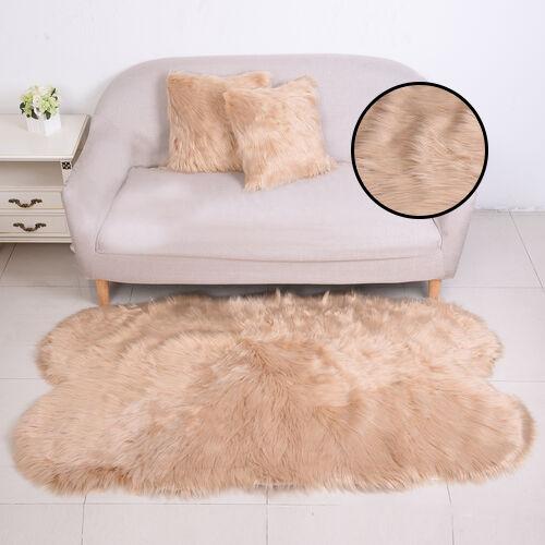 3 Piece Set- Long Pile Faux Fur Rug (100x180cm) with 2 Sofa Cushion Covers (45x45cm-2Pcs) - Gold