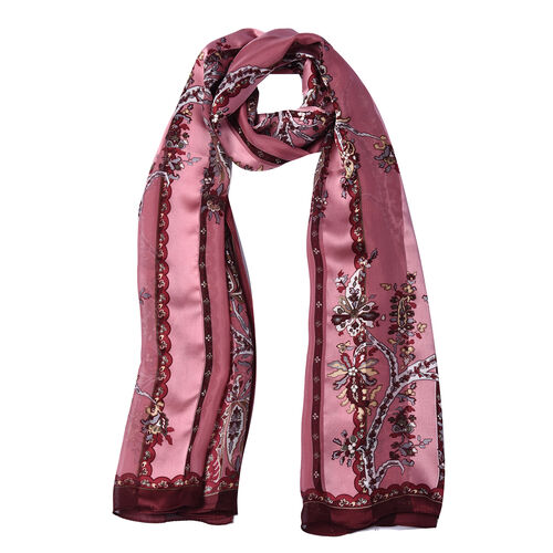 LA MAREY 100% Mulberry Silk Pink Floral Print Scarf  in Gift Box (165x50cm)