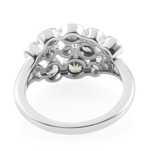 Narsipatnam Alexandrite (Rnd), Natural Cambodian Zircon Cluster Ring in Platinum Overlay Sterling Silver 0.85 Ct.